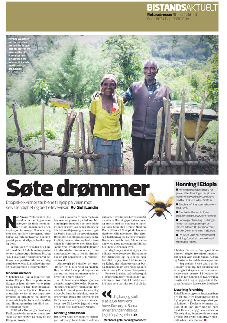 Ethiopian beekeepers, published in Bistandsaktuelt