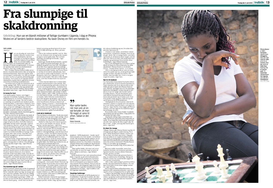Story about the Ugandan chess champion for Jyllandsposten