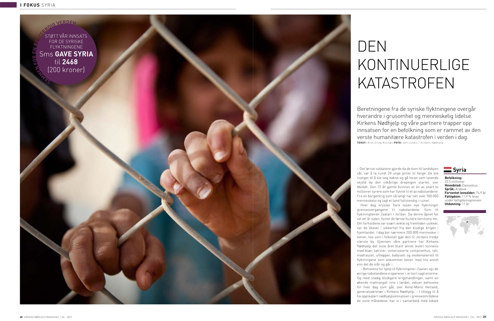 The War in Syria. Cover story in Norwegian Church Aid´s magazine