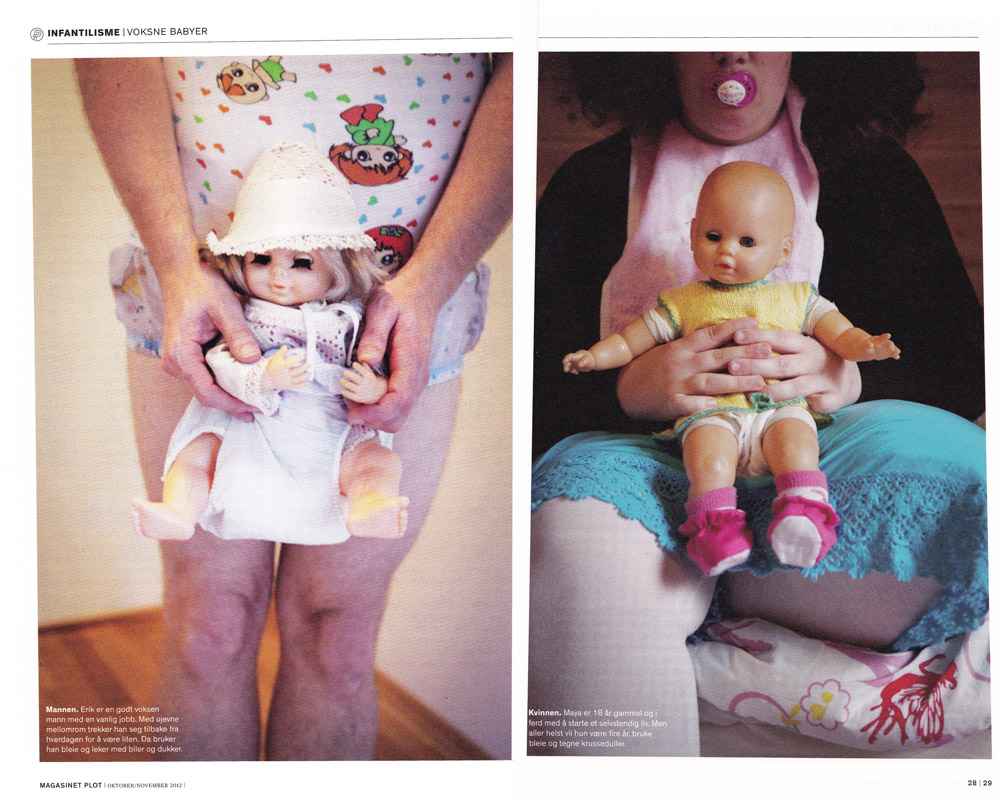 Life as an adult baby. Cover story in the documentary magazine Plot