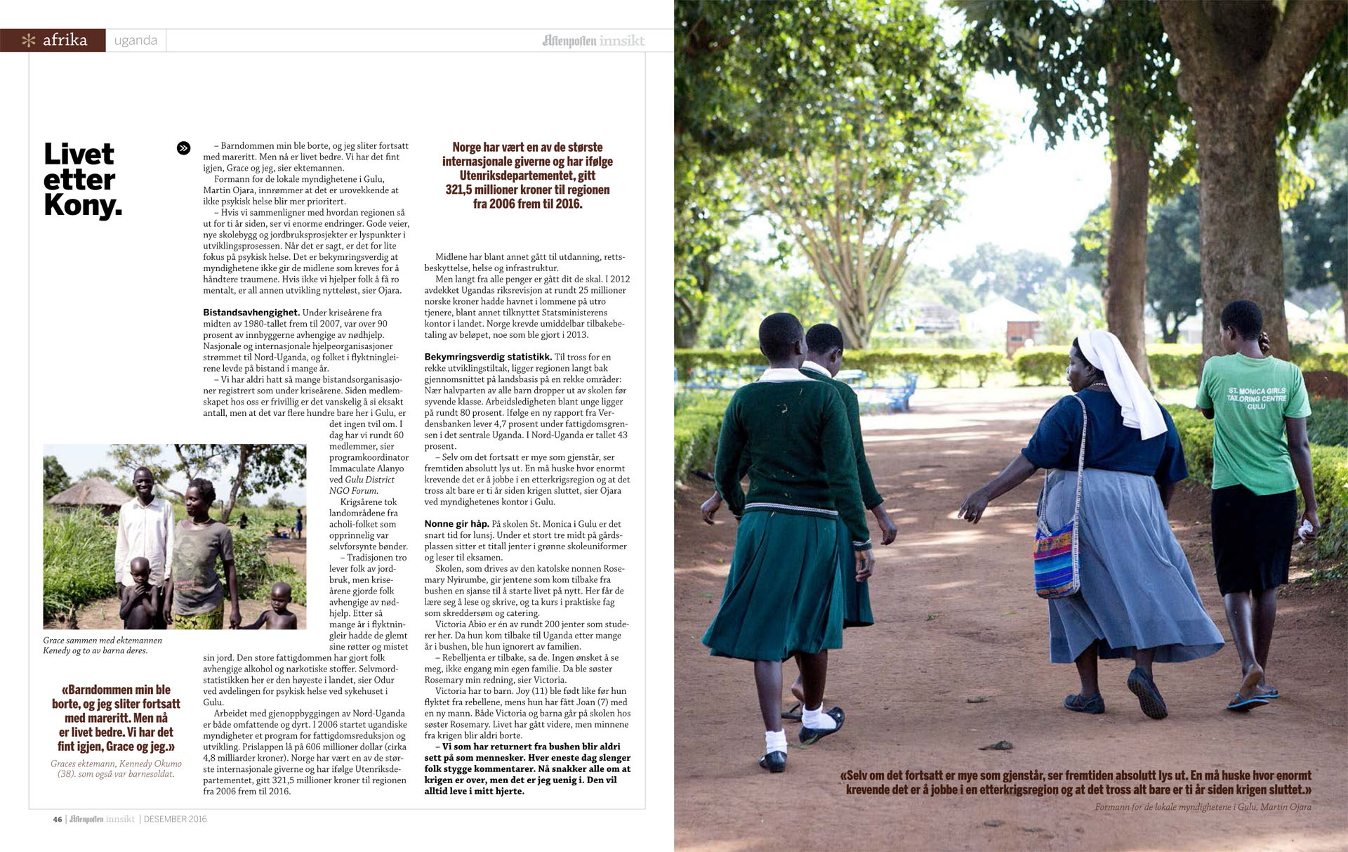 Story from Northern Uganda for Aftenposten Innsikt